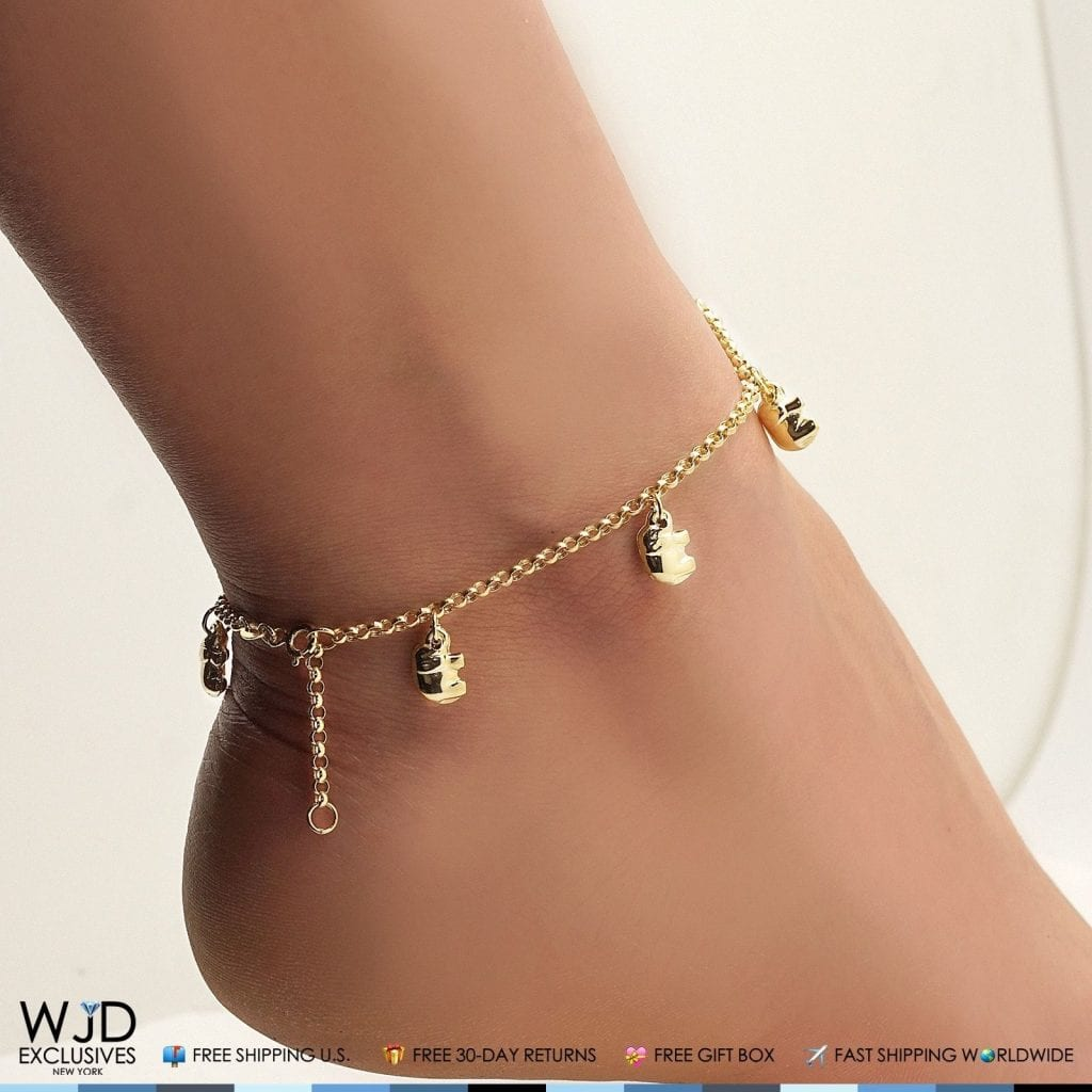 solid clasp elephant gold spring anklet link bracelet fast yellow ring itm worldwide rolo shipping