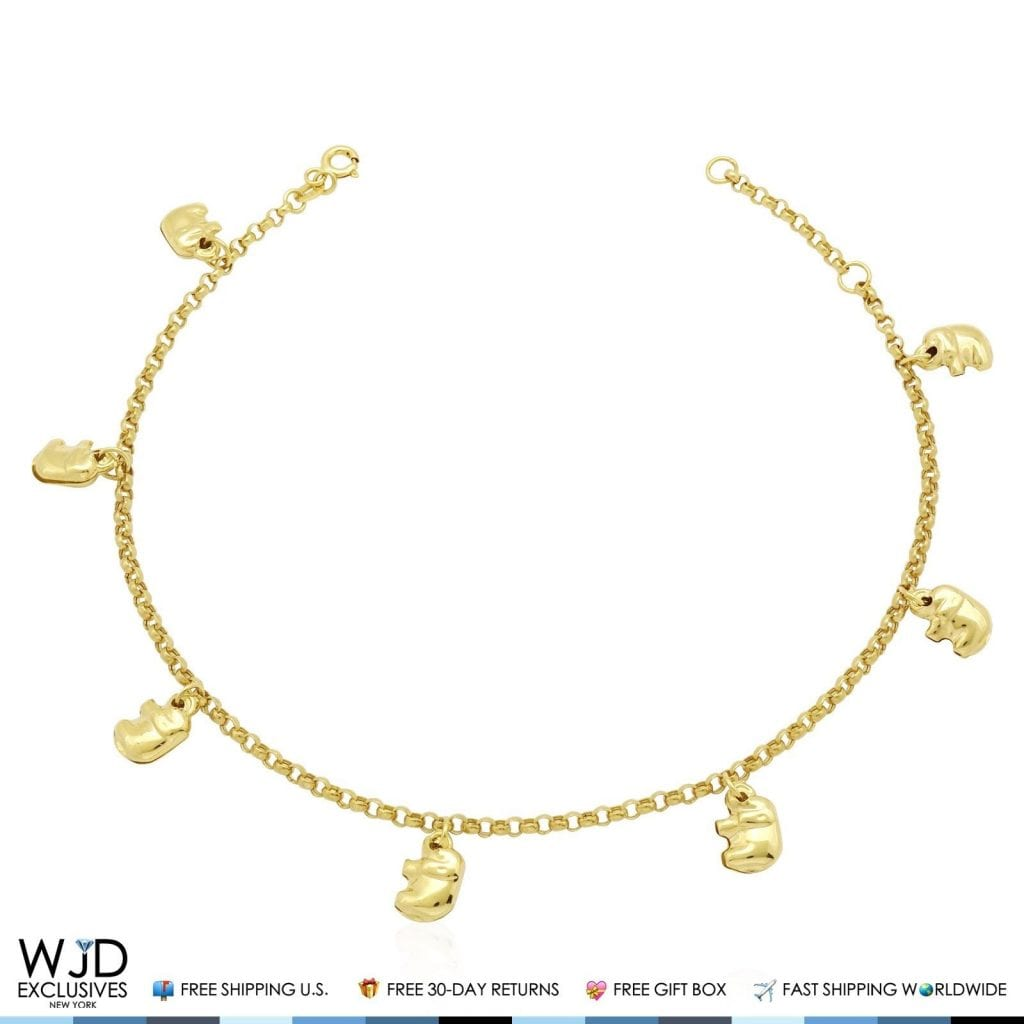 yellow shipping jewelry inch irish gold anklet claddagh product overstock today free watches