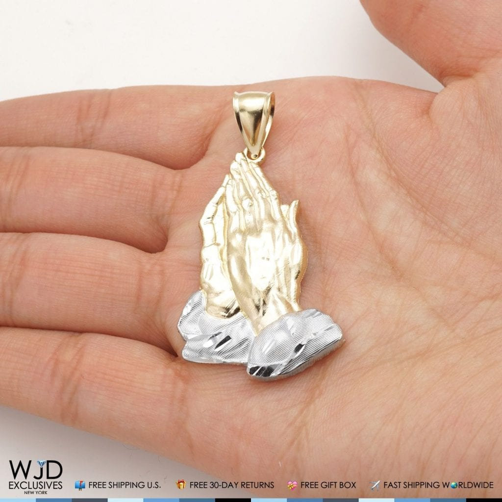 14k Solid Yellow And White Gold Praying Hands Religious Charm Pendant 2