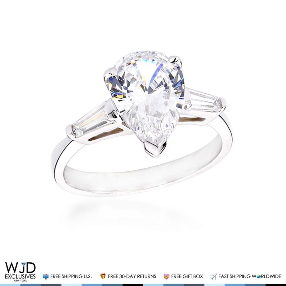 14k white gold 3ct pear shape cz cubic zirconia engagement wedding ring - Cubic Zirconia Wedding Rings