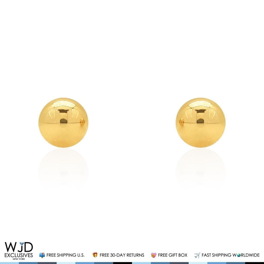 b45b20b3d 14k Solid Yellow Gold High Polish Screwback Small Round Ball Stud Earrings  5mm | WJD Exclusives