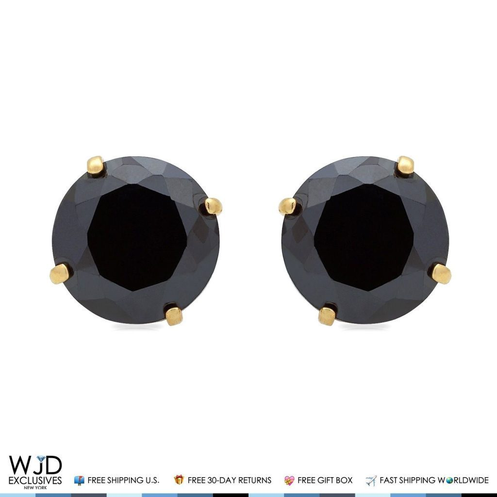 2Ct Created Black Diamond Round Cut Stud Earrings 14K Yellow Gold Screwback