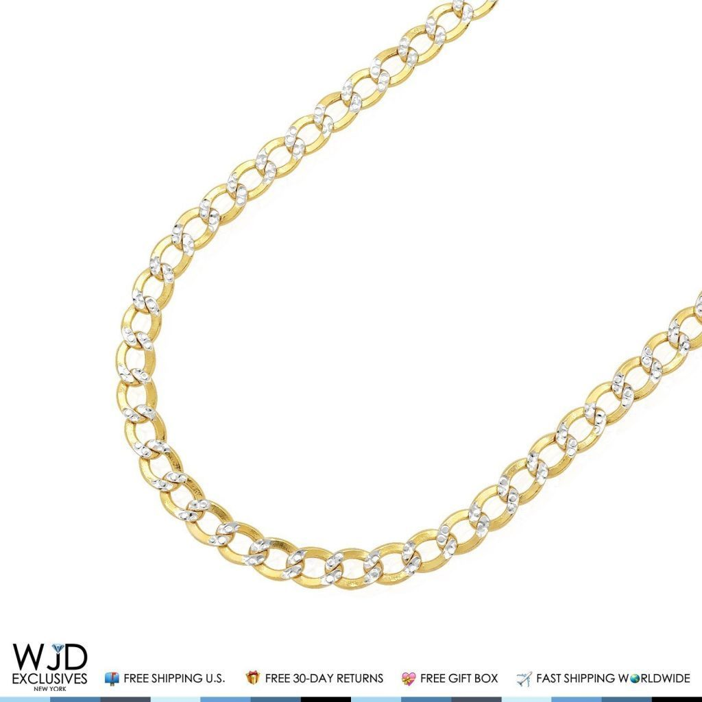 1af9bd390a81c 10K Two-Tone Yellow Gold Hollow 5mm Diamond Cut Cuban Curb Chain 18