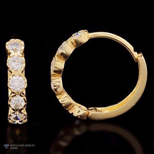 14k Gold Created Diamond Hinged Huggie Hoop Earrings Yellow White